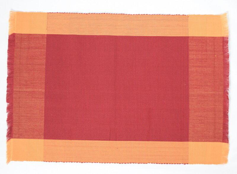 フィリピン 工芸品 Rowilda's 手織り ランチョンマット 2枚組 レッド オレンジ