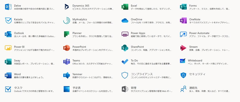 Microsoft 365サービス一覧